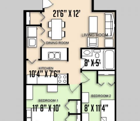 Carriage Lane - Floorplan - 2BED 1 BATH - FLAT