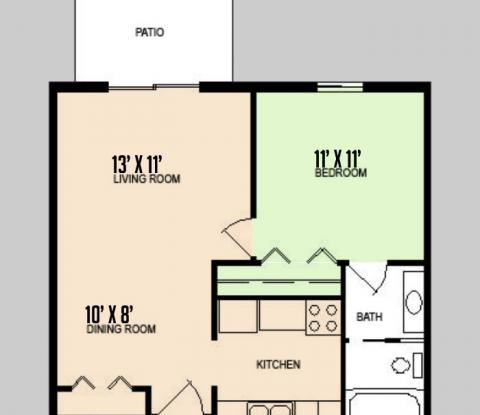 Colorado Oaks - Floorplan - 1BED 1BATH - VERSION 1