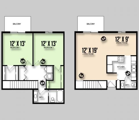 Colorado Oaks - Floorplan - 2BED 1.5BATH - 2Floor - No Foyer