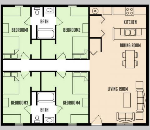 Carriage Way - Floorplan - 4BED 2BATH - FLAT