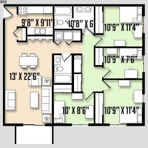 Carriage Lane - Floorplan - 4BED 2BATH - FLAT