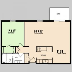 Colorado Oaks - Floorplan - 1BED 1BATH - LARGE