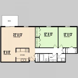 Colorado Oaks - Floorplan - 2BED 1BATH - FLAT