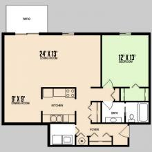 Colorado Oaks - Floorplan - 1BED 1BATH - DELUXE